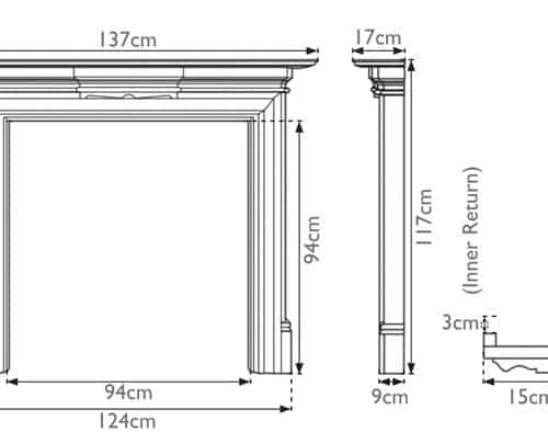Grand Wooden Fireplace Surround