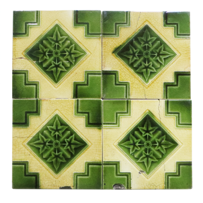 Antique Fireplace Tiles with Lime Green & Ivory Design