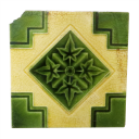 OT150 - Antique Fireplace Tiles with Lime Green & Ivory Design