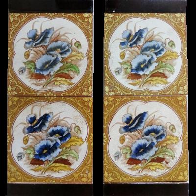 Vintage Fireplace Tiles with Floral Design