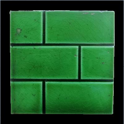 OT157 - Antique Fireplace Tiles Green Brick Design