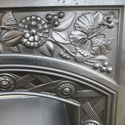 """BED126 - Floral Cast Iron Antique Bedroom Fireplace (35.5""""H x 26.5""""W)"""