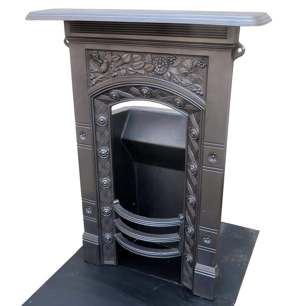 Okld Cast Iron ~ Floral cast iron antique bedroom fireplace victorian