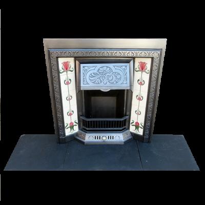 INS242 - Stunning Floral Cast Iron Fireplace Insert (38″H x 36″W)