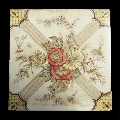 Antique Floral Symmetrical Fireplace Tiles