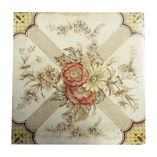 Antique Floral Symmetrical Fireplace Tiles