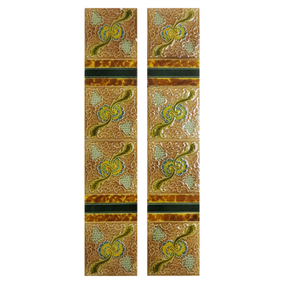 Antique Original Embossed Fireplace Tiles