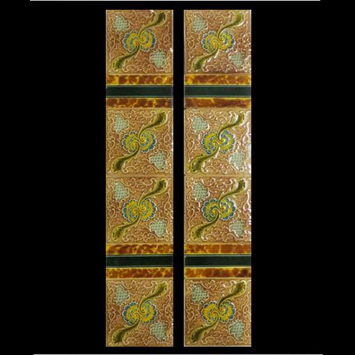 Antique Original Embossed Fireplace Tiles