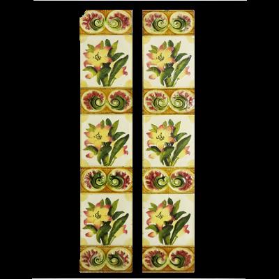 Original Antique Watercolour Floral Fireplace Tiles