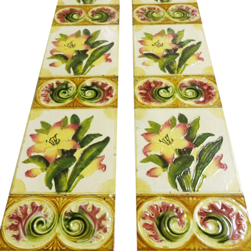 Original Antique Watercolour Floral Fireplace Tiles