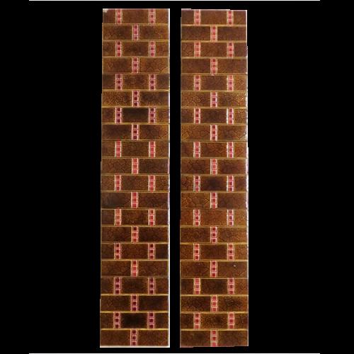 Original Antique Brown Brick Fireplace Tiles