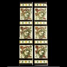 OT064 - Original Antique Hand Painted Leaf Fireplace Tiles