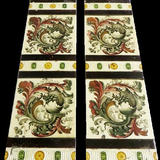 Original Antique Hand Painted Leaf Fireplace Tiles