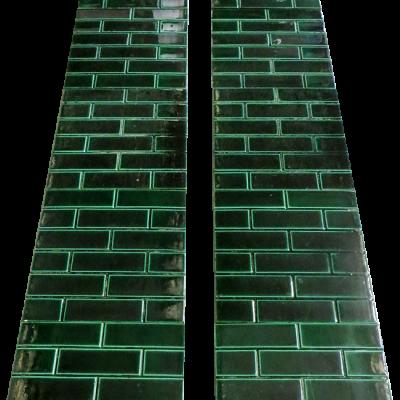 OT066 - Antique Edwardian Green Brick Fireplace Tiles