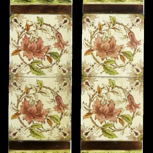 Antique Original Floral Fireplace Tiles
