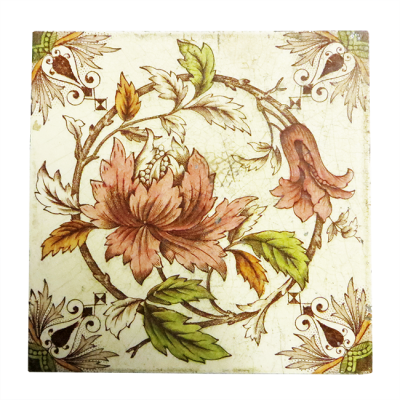 Antique Original Floral Fireplace Tiles