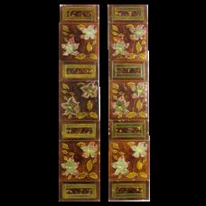 OT074 - Antique Original Amber & Brown Fireplace Tiles