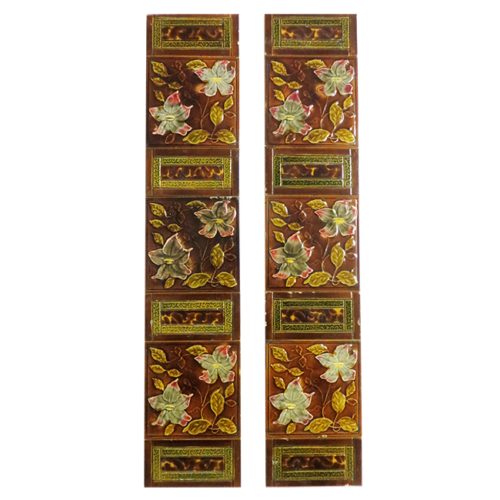 Antique Original Amber & Brown Fireplace Tiles