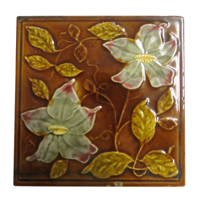 OT074 - Antique Original Amber & Brown Fireplace Tiles