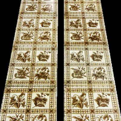 Antique Original Cream & Brown Fireplace Tiles