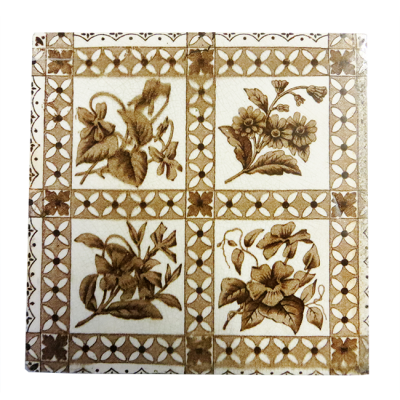 Antique Original Cream & Brown Fireplace Tiles