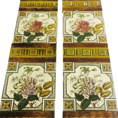 Original Antique Single Rose Fireplace Tiles
