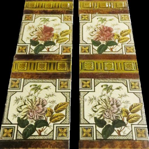 Original Antique Single Rose Fireplace Tiles