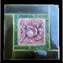 OT163 - Original Antique Shiny Green Fireplace Tiles