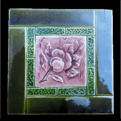 Original Antique Shiny Green Fireplace Tiles