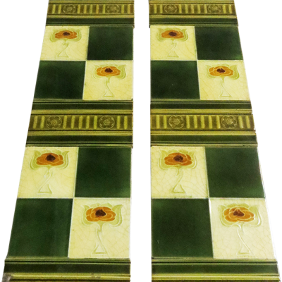 OT164 - Original Antique Square Fireplace Tiles