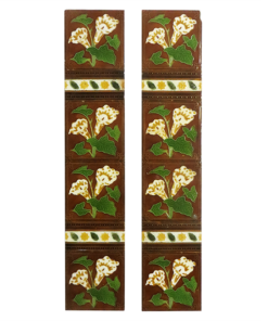 Original Antique Brown Floral Fireplace Tiles