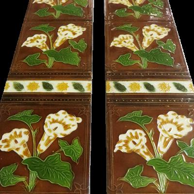 Original Antique Brown Floral Fireplace Tiles