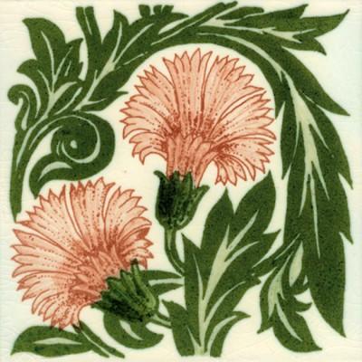 William De Morgan Coral Floral Carnation Tile