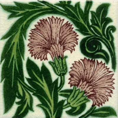 William De Morgan Carnation Manganese Tile (ST002)