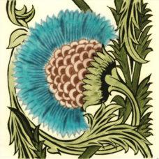 William De Morgan BBB Turquoise Floral Tile (Left/Right) (ST005)
