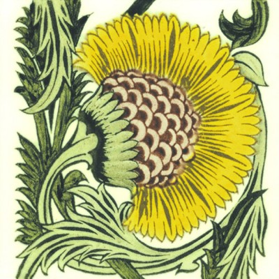 William De Morgan BBB Yellow Floral Tile