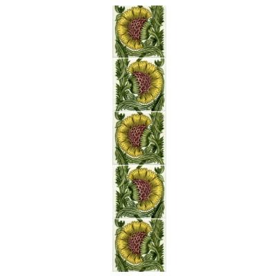 William De Morgan BBB Yellow Floral Tile (Left/Right) (ST006)