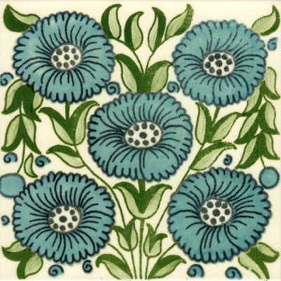 William De Morgan Bedford Park Anenome Tile