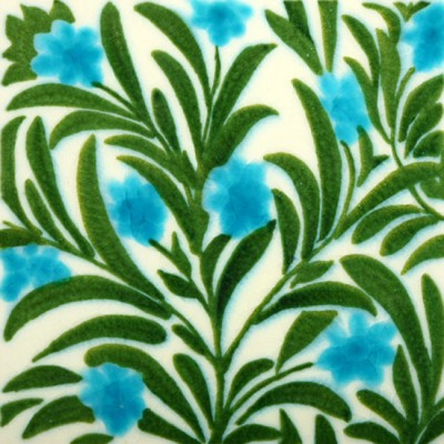 William De Morgan Boston Blue Floral Tile