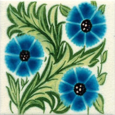 William De Morgan Turquoise Daisy Tile (ST008)