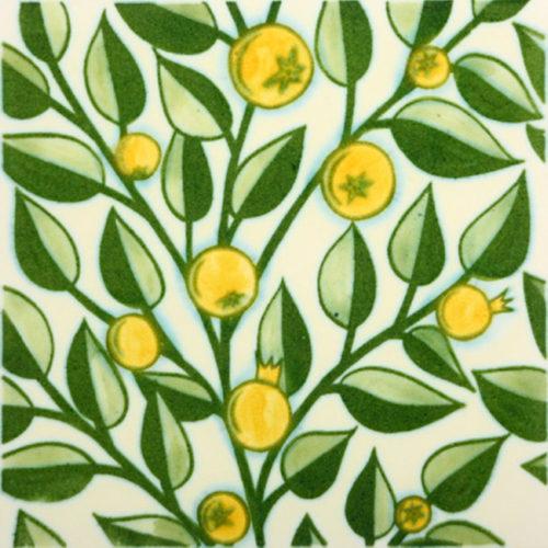 William De Morgan Yellow Fruit Tree Tile