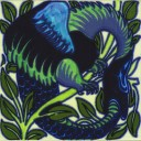 William De Morgan Fantastic Uroboros Tile (A/B) (ST024)