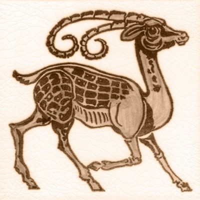 William De Morgan Antelope Animal Tile