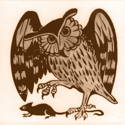 William De Morgan Owl Animal Tile