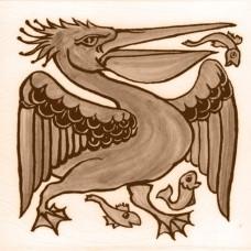 William De Morgan Pelican Animal Tile (A/B) (ST030)