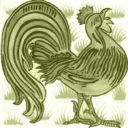 William De Morgan Grass Cockrel Tile (A/B) (ST032)