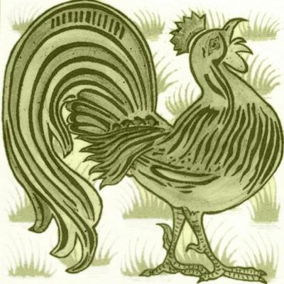 William De Morgan Grass Cockrel Tile