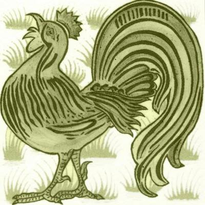 William De Morgan Grass Cockrel Animal Tile