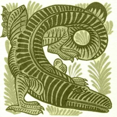 William De Morgan Crocodile Tile