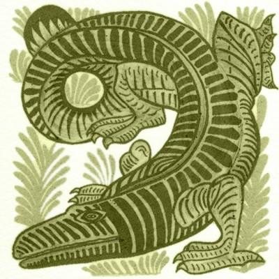 William De Morgan Crocodile Animal Tile
